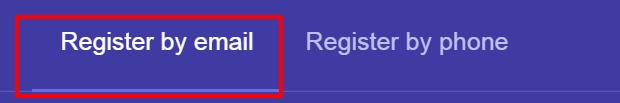Регистрация по email