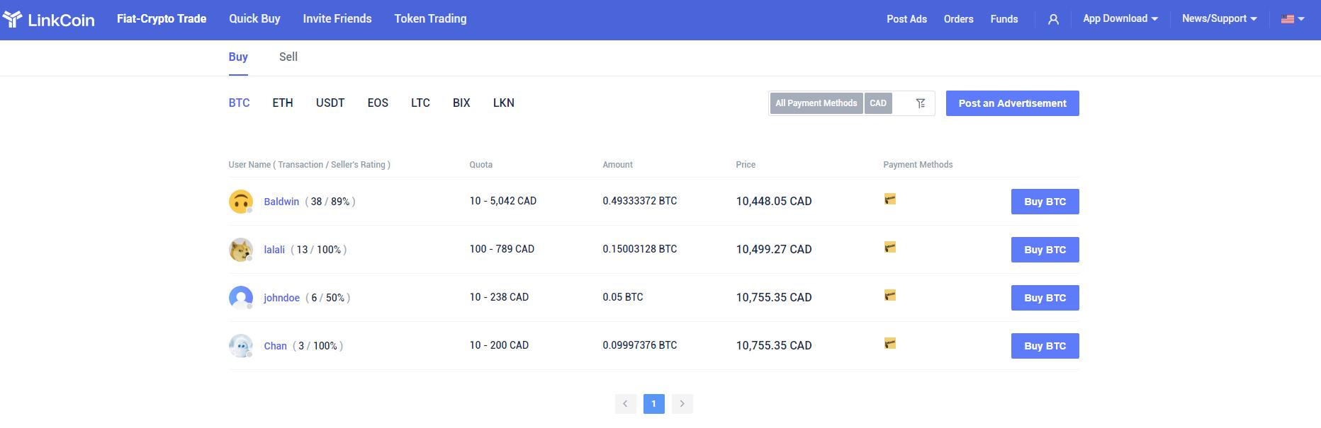 Сайт LinkCoin