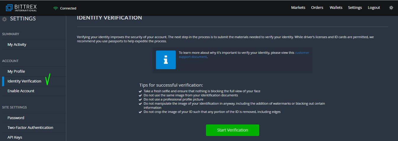 Страница Identify Verification